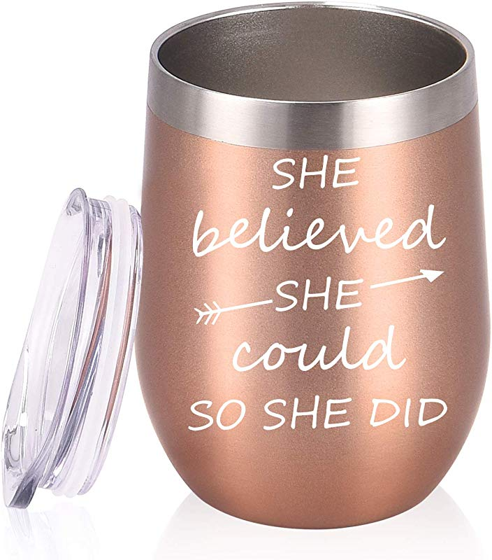 She Believed She Could So She Did Birthday Gifts Wine Tumbler 12 Oz Insulated Wine Tumbler Inspirational Graduation Congratulation Gift For Women Her BFFs Sister Girlfriend Coworker Rose Gold
