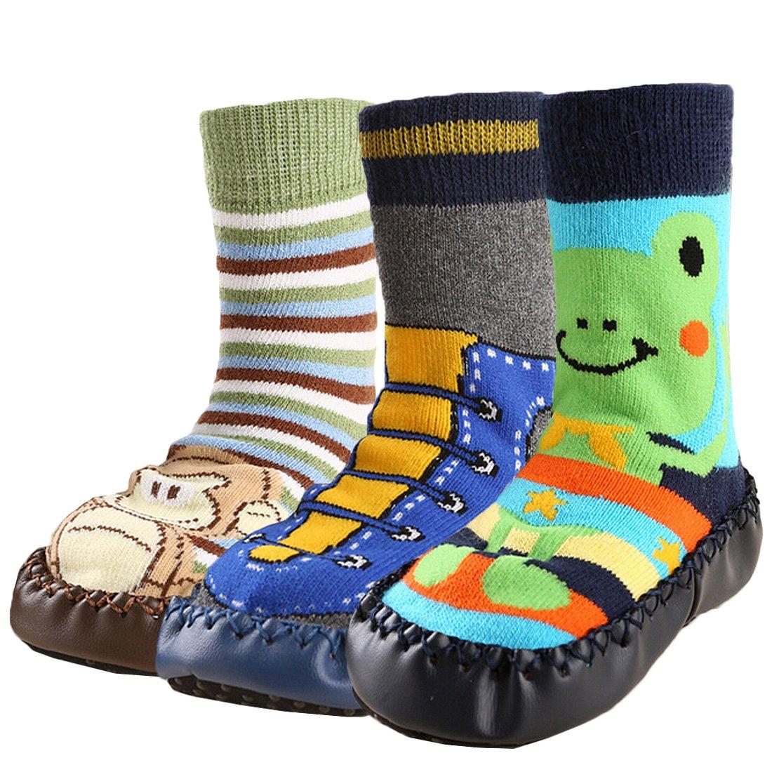 KF Baby Toddlers Boys Girls Non-Skid Slipper Socks Value Pack [3 Pairs]