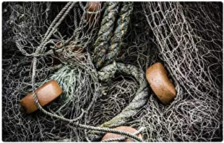 Tree26 Indoor Floor Rug/Mat (23.6 x 15.7 Inch) - Fishing Nets Rope Fish Catch Sea Fisherman