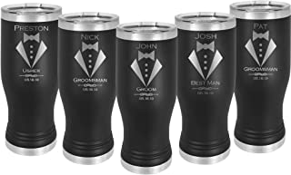 Groomsman Pilsner 20 ounce Tumbler Stainless Steel Custom Engraved with a Clear Lid including Choice of Color, Design, Name, Title, Date, Thank You Message, Straw and Spill Proof Lid