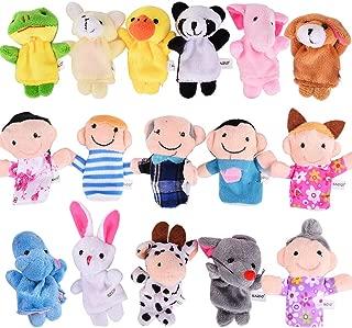 ThinkMax 16 Pack Soft Plush Finger Puppets Set - MANSA 10 Animals + 6 People Family Members Velvet Cute Toys for Children, Story Time, Shows, Playtime, Schools (16pcs)