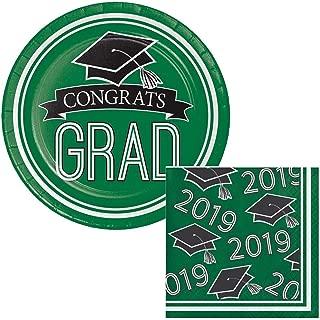 School Colors Class of 2019 Graduation Dessert Plates & Napkins Party Kit for 18 (Green)