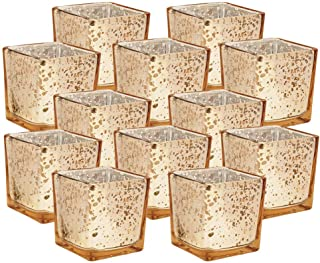 Just Artifacts Mercury Glass Square Votive Candle Holder 2-Inch (12pcs, Speckled Gold) - Mercury Glass Votive Tealight Candle Holders for Weddings, Parties and Home Décor