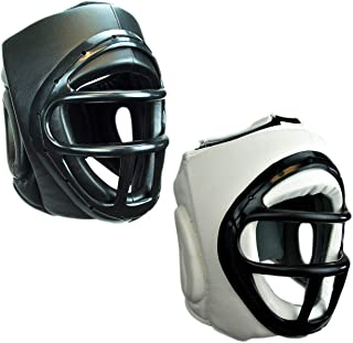 Prowin Corp Sparring Training Head Gear with Face Cage for Boxing Kickboxing MMA Black/White