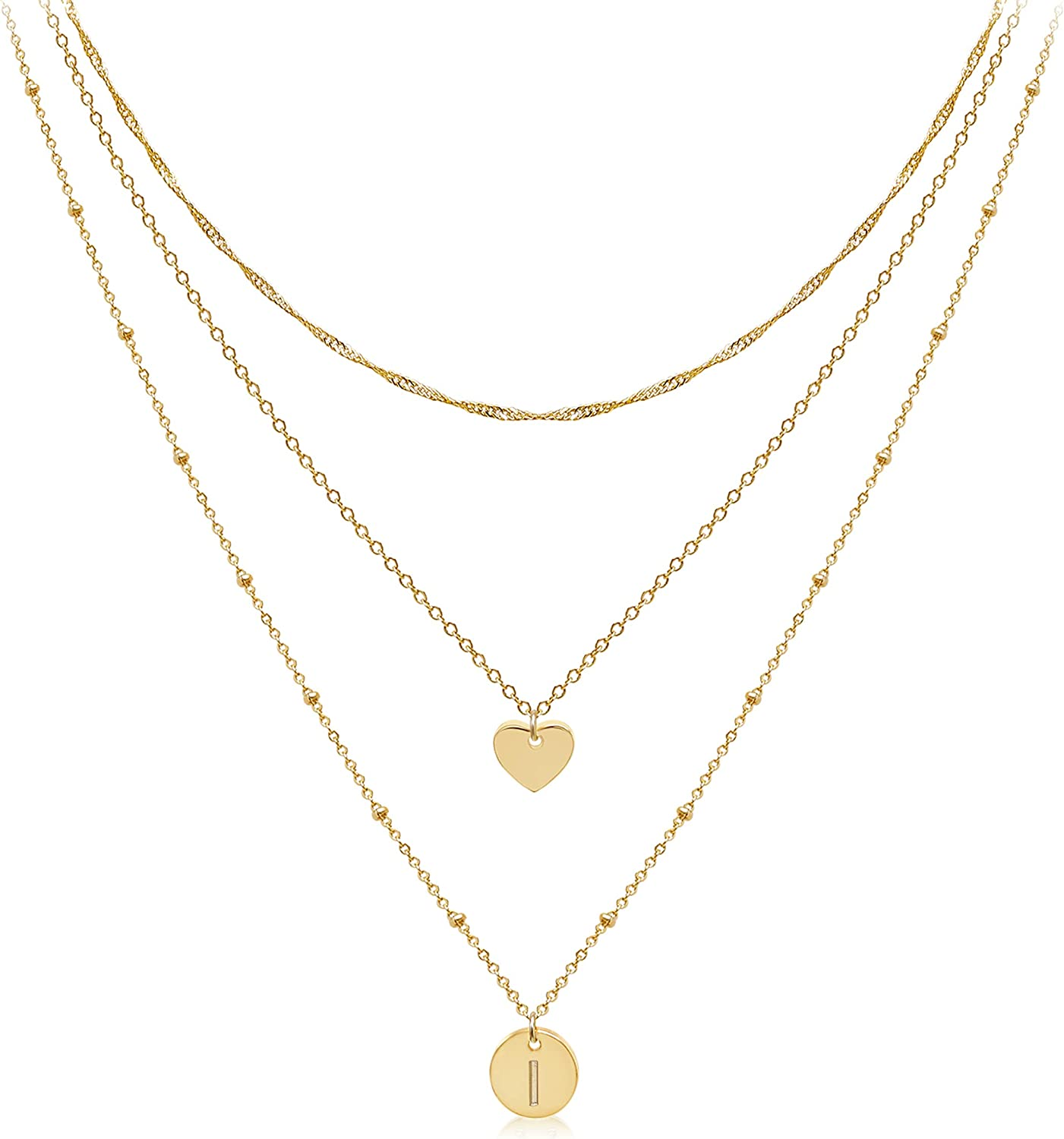 Aisansty Layered Gold Heart Initial Necklaces for Women Girls Handmade 14K Gold Plated Dainty Tiny Heart Personalized Letter Disc Coin Pendant Adjustable Layering Chain Choker Necklaces Gift for Her