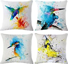 Throw Pillow Covers Decorative Pillowcases 18x18inch (4 pieces set) Pillow Cases Home Car Decorative (Oil painting-Bird)