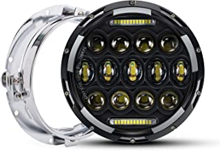 QUAKEWORLD Motorcycle 7 Inch LED Headlight Replacement With Headlight Trim Ring for Harley Davidson Adaptive LED Headlamp Black | Also Fits Jeep Wrangler