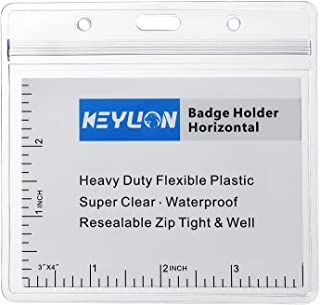 """KEYLION 10 Pack Large 3"""" x 4"""" Horizontal Name Tag Badge ID Card Holder, Heavy Duty Clear Plastic Cover Sleeve Pouch with W..."""
