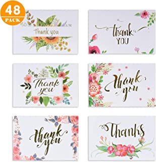 SUPRBIRD Thank You Cards with Envelopes, 48 Thank You Notes Greeting Cards for Wedding, Baby Shower, Bridal Shower, Anniversary, Includes Stickers, 4 x 6 Inches Greeting Cards