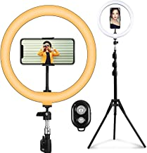 "12"" Selfie Ring Light with Tripod Stand & Cell Phone Holder, 3 Lighting Modes & 10 Brightness Levels with 180 LED Bulbs, L..."