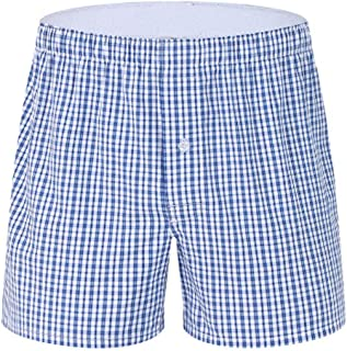 waitFOR Men Elastic Waist Loose Household Boxer Briefs Plaid Print Underwear Casual Baggy Sport Shorts Man Cotton Summer H...
