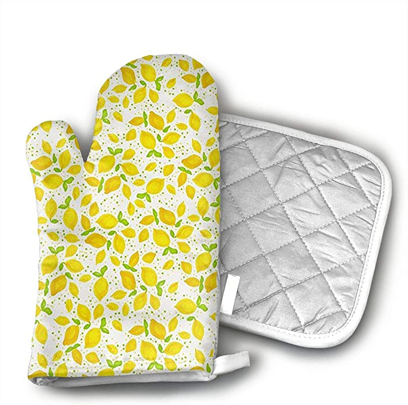 Little Lemons Oven Mitts And Pot Holders Set With Polyester Cotton Non Slip Grip Heat Resistant Oven Gloves For BBQ Cooking Baking Grilling