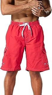 MAGCOMSEN Men's Swim Trunks with Mesh Linner 4 Pockets Quick Dry Beachwear Board Shorts Summer Swim Shorts