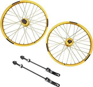 Bicycle Wheelset Rims, 1Pair Sturdy Durable 32 Holes BMX Wheel Mountain Bike Wheelset, for Mountain Bike 20inches 406 Tire...