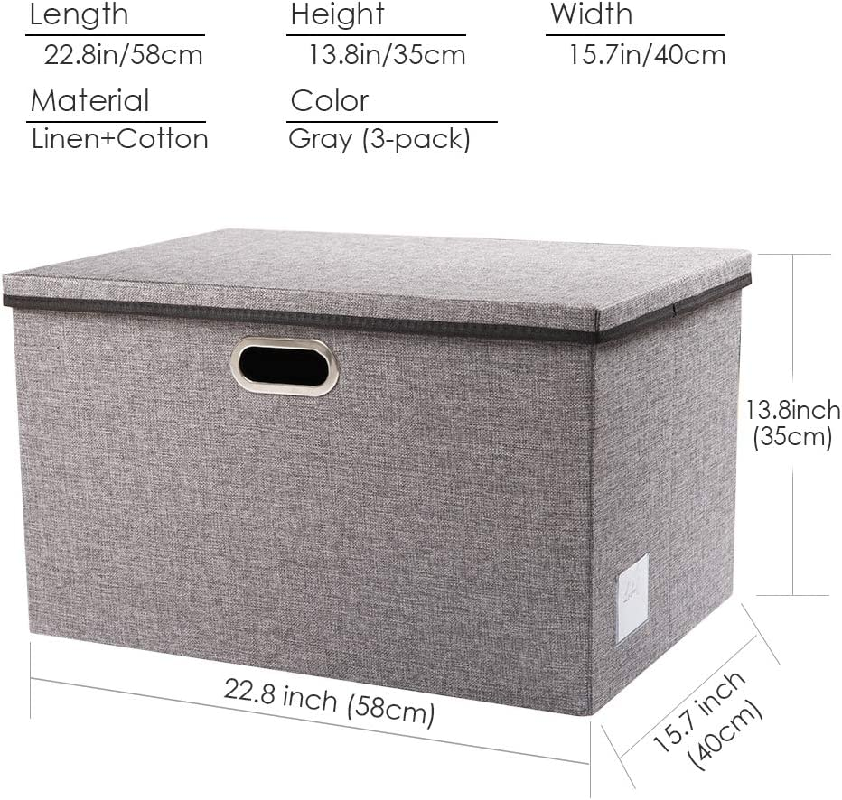 Prandom Foldable Storage Box with Lid Fabric Collapsible Storage Bin Organizer Container Basket Cube with Cover for Home Bedroom Closet Office Nursery Black 14.9x9.8x9.8 3-Pack