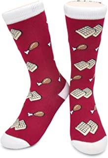 Funky Chicken & Waffles Crew Socks - Chicken and Waffles, Crazy, Fun, Novelty Socks, Kids, Men's, Women's