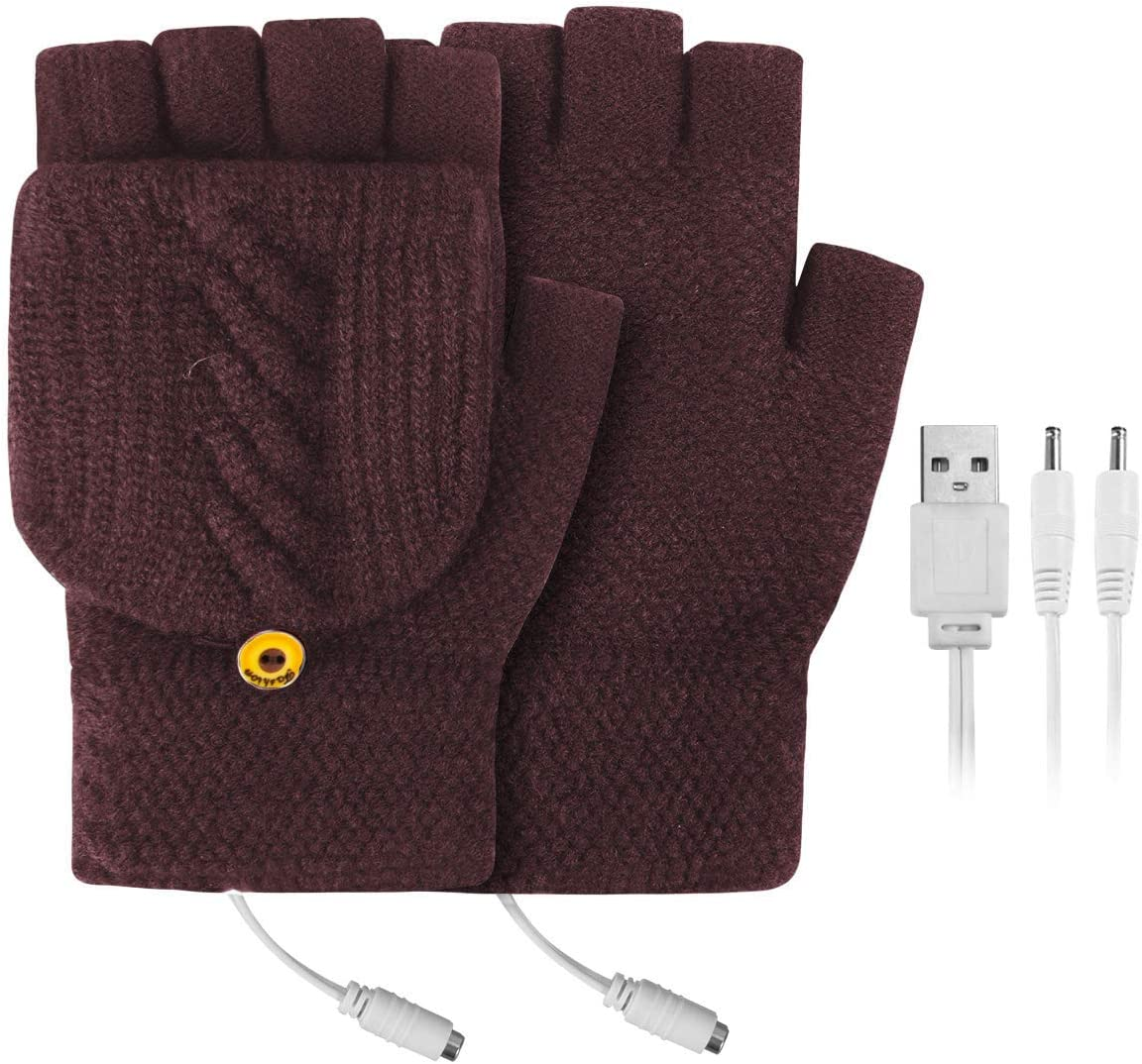 FAMKIT USB Heated Gloves Mitten,Winter Full & Half Fingers Warmer Laptop Gloves Mittens for Best Winter Gift Choice (Need to use a Computer or Power Bank for Power Supply)