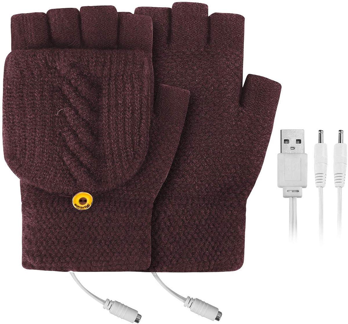 FAMKIT USB Heated Gloves Mitten,Winter Full & Half Fingers Warmer Laptop Gloves Mittens