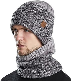 TOTOOSE شال گردن بافتنی Beanie کلاه: کابل گرم روسری کلاه گردن روسری گرمتر روسری Unisex - مردان کلاه های آستری آستری بند دار با روکش ضخیم نرم Beanies خاکستری ضخیم