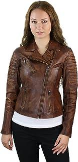 Aviatrix - Chaqueta de piel auténtica para mujer, estilo motorista, color rojo