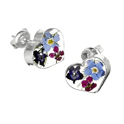 90e305532 Silver heart stud earrings made with real flowers - includes giftbox