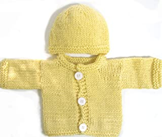 KSS Handmade Navy//Brown Baby Sweater//Cardigan with an Animal Hat 3 Months