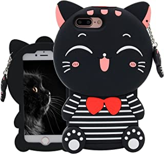 Joyleop Black Cat Case Compatible with Phone 5 5C 5S SE,Cute 3D Cartoon Animal Cover,Kids Girls Fun Soft Silicone Rubber Kawaii Character Unique Cases,Fashion Shockproof Skin Protector for iPhone5