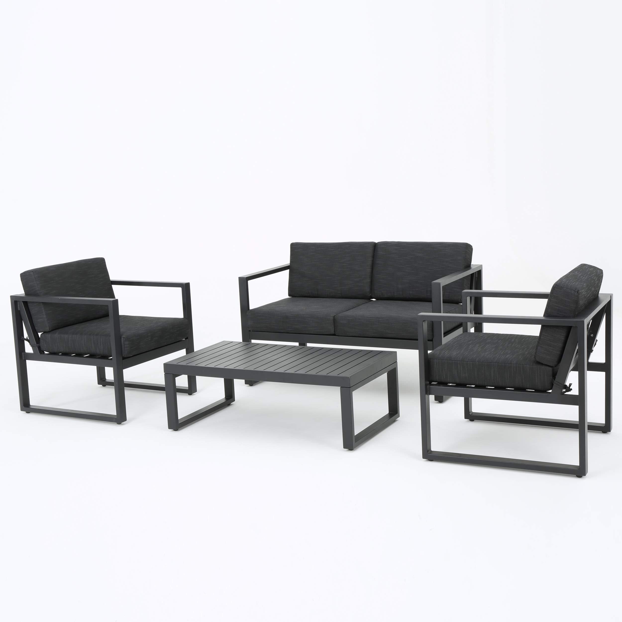 GDF Studio Nealie Patio Furniture ~ 4 Piece Outdoor Aluminum Chat Set (Dark Grey)