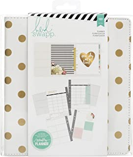 Heidi Swapp Large Memory Planner by American Crafts | White & Gold Polka dots | 122 Pieces