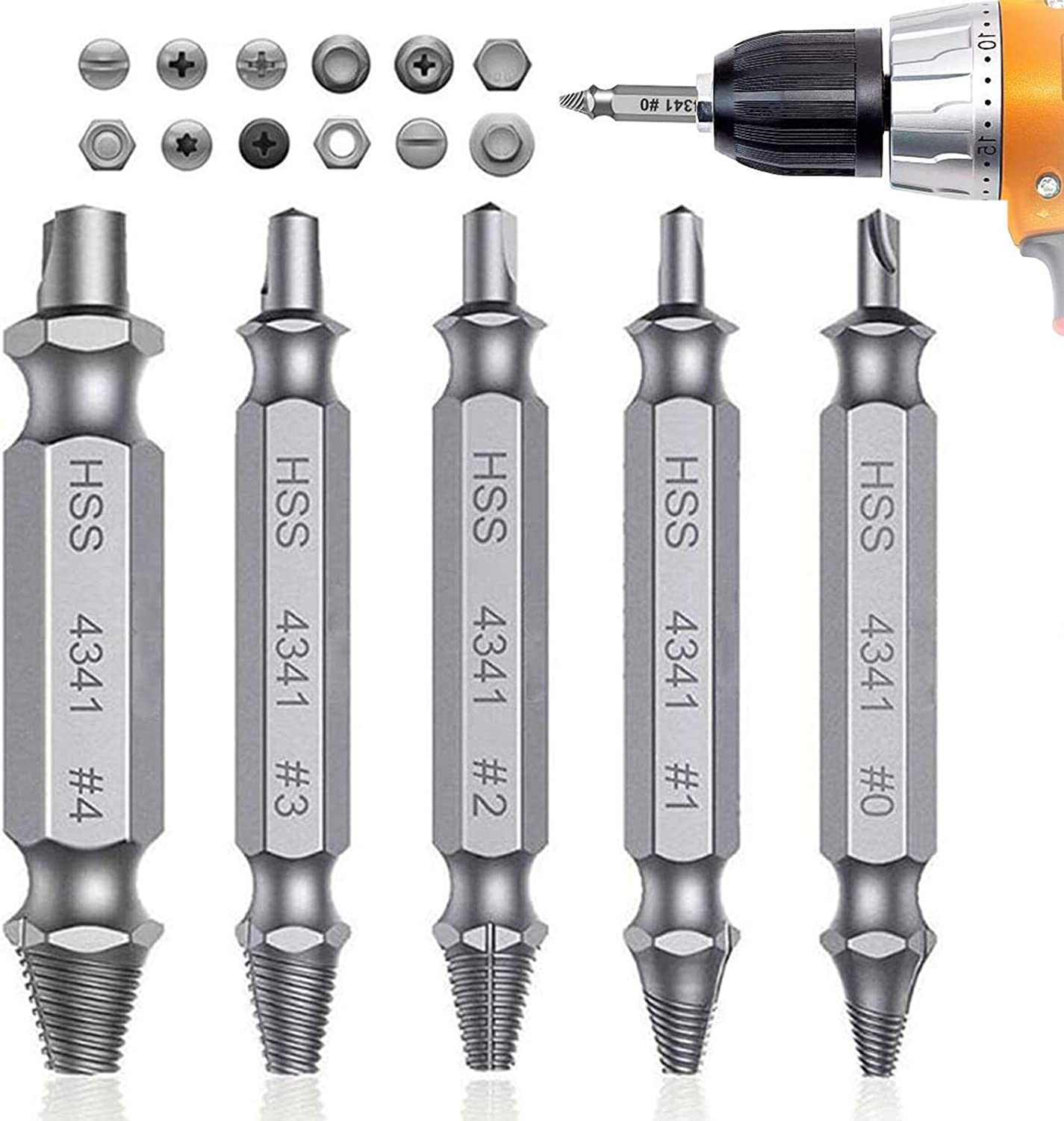 Silver 5PCS High Speed Steel H.S.S 4341 Socket Adapter Screw Removal Set Damaged Stripped Screw Extractor Kit for Broken Screw Extractor Set