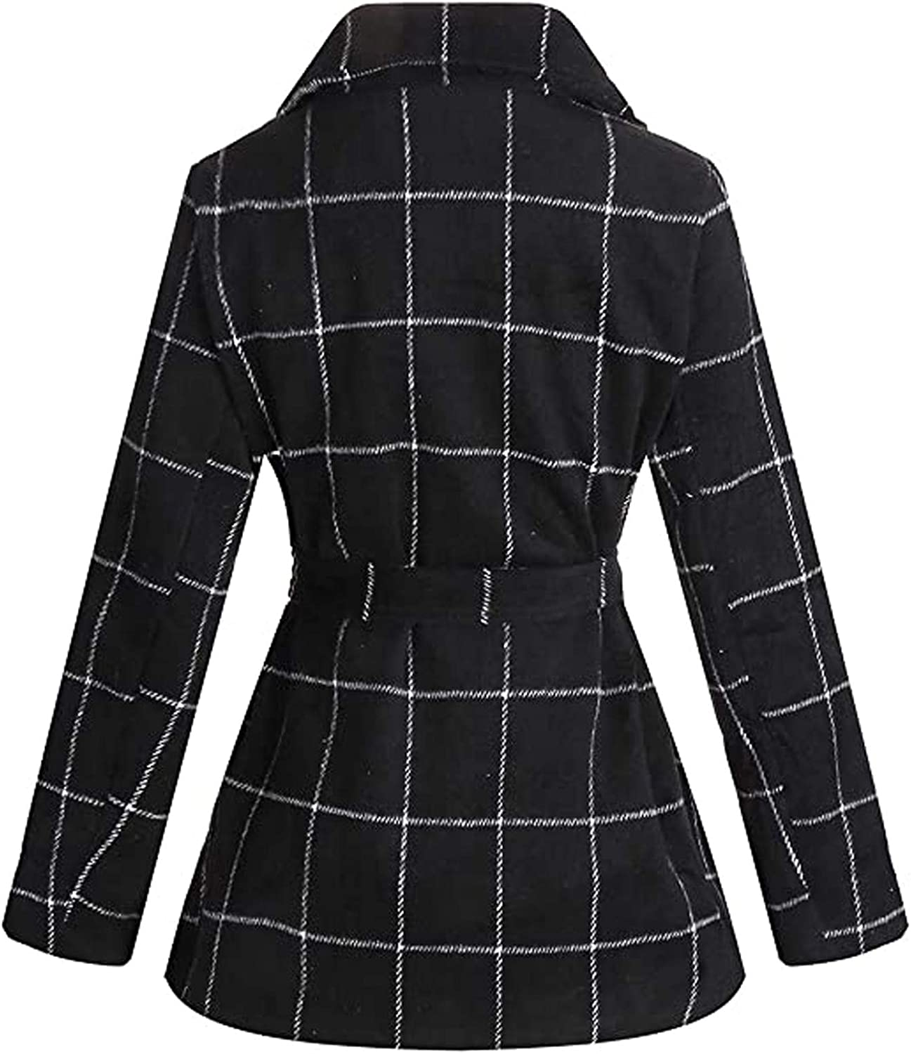 Coats for Women, Women's Winter Long Double Breasted Wool Trench Coat Thick Pea Coat