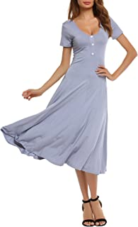SE MIU Women Short Sleeve Button Solid Slim Fit Casual Party Midi Swing Dress