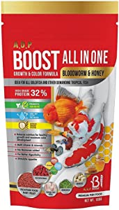 A.D.P. Fish Booster Bloodworm Honey 100 g. Goldfish Food & All Tropical Fish Food Small Floating Pellet Grow Faster & Color Enhancing High Protein 32% Aquarium Baby Fish Newborn Fry Fish Feed Care