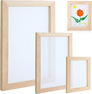 3 Pieces Wooden Paper Making Mould Papermaking Frame Screen DIY Paper Making Mesh Mold Tool Kit for DIY Paper Craft and Dr...