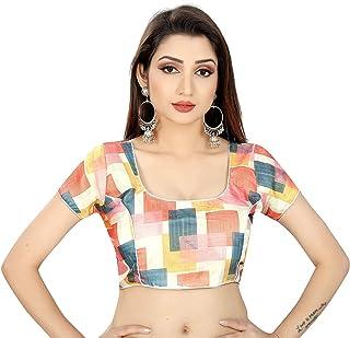 Ocean Fashion Women's Printed Round Neck Saree's Blouses