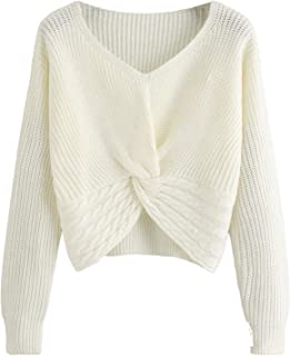 Women's Casual V Neck Sweater Long Sleeve Knot Front Crop Top Pullovers