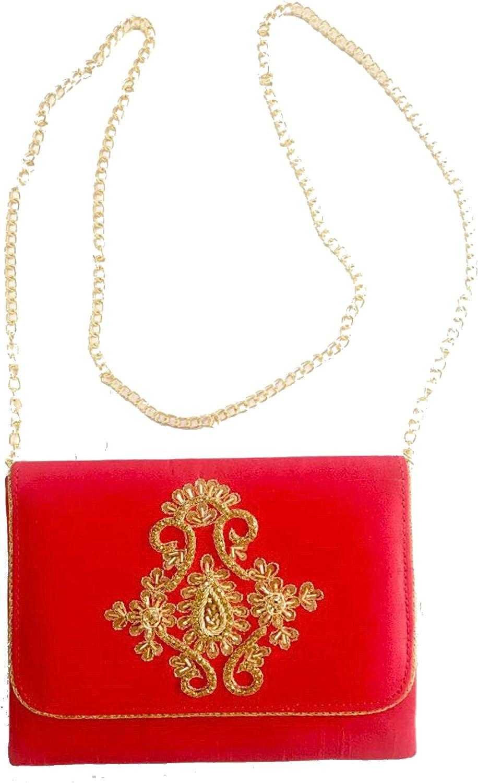 Amor Women's Beautiful Fashion Clutch Embroidered Silk Bag Purse Lady Handbag