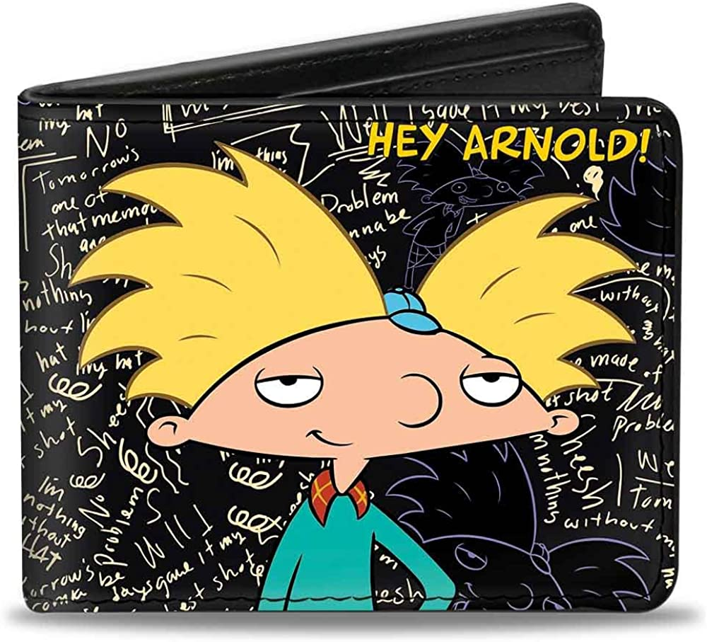 Buckle-Down mens Buckle-down Pu Bifold - Hey Arnold!/Arnold Pose/Chalkboard Scribbles Wallet