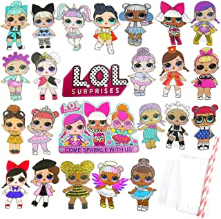 Jewels' Tour LOL Cake Topper, 24 Pcs LOL Cupcake Toppers Decorations Theme Party Supplies for 1st Birthday Baby Shower Single Side