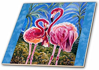 3dRose This is The Trinity Concept of Love - Bird Flamingos and The Subliminal Heart Formed by The Heads. - Ceramic Tile, 4-Inch (ct_54920_1)