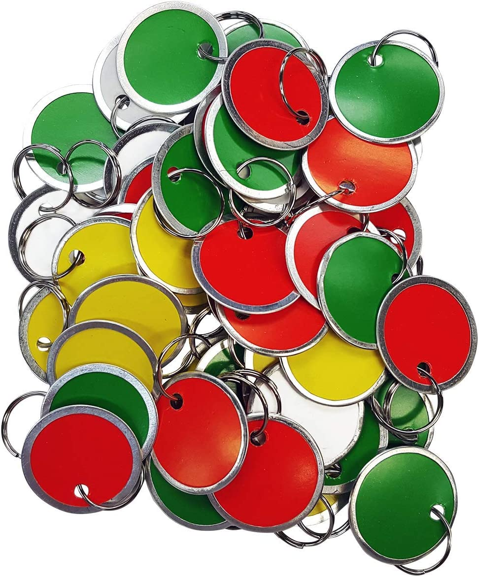 Amram Key Tags 1.25-in Diameter and New Free Shipping Metal Max 44% OFF Assorted Rim Colors