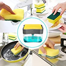 Optimise Plastic Soap Pump Dispenser with Sponge Holder 13 Oz Press Compact Storage for Dish Soaps, Lotion and Sponges