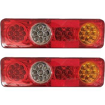 Lampes de 5 Fonction pour remorque Caravane Camion Van 46 LED Monland 1 Paire 12V LED feu rriere