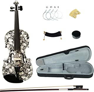 Kinglos 4/4 Black White Skull Colored Ebony Fitted Solid Wood Violin Kit with Case, Shoulder Rest, Bow, Rosin, Extra Bridge and Strings Full Size (HB1312)