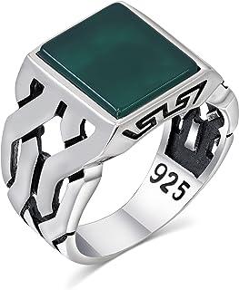 خاتم فضة رجالي بحجر عقيق 925 فضة استرلينية تركية مصنوعة يدويًا مجوهرات للرجال من تشيمودا
