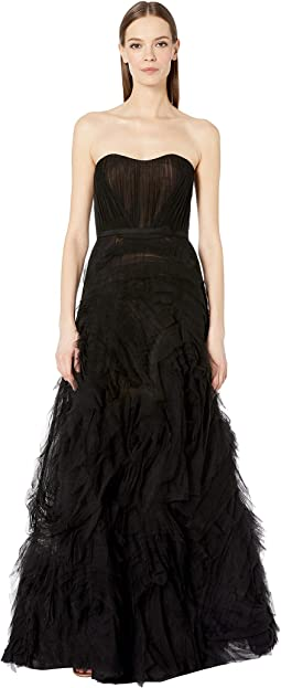 1f42a36ea8fa3 Black. 4. Marchesa Notte. Strapless Textured Tulle ...