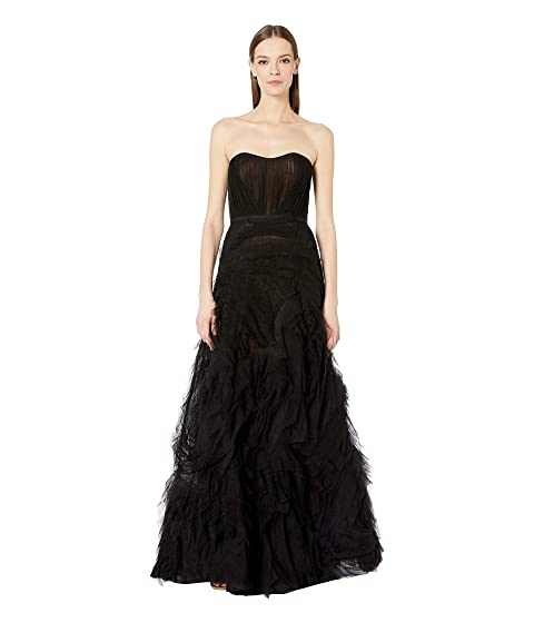 Marchesa Notte Strapless Textured Tulle Gown with Draped Corset Bodice and Trim