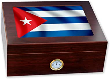 ExpressItBest Premium Desktop Humidor - Glass Top - Flag of Cuba (Cuban) - Waves Design - Cedar Lined with humidifier & Front Mounted Hygrometer.