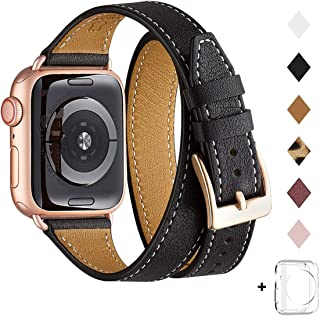 Bestig Band Compatible for Apple Watch 38mm 40mm 42mm 44mm, Genuine Leather Double Tour Designed Slim Replacement iwatch Strap for iWatch Series 5/4/3/2/1 (Black Band+Rose Gold Adapter, 38mm 40mm)