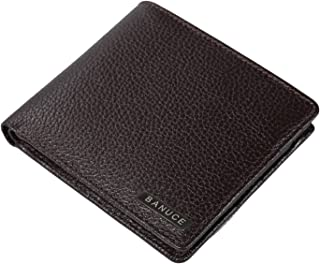 Banuce Genuine Leather Bifold Wallet for Men Multi Card Slots Money Purse Removable ID Credit Card Case Organizer Brown